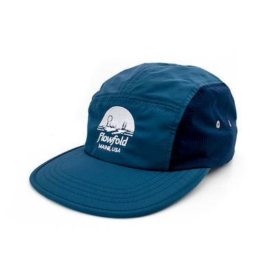Flowfold Island Logo Navy Blue Performance hat for running and hiking