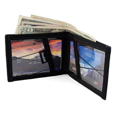 Flowfold RFID Blocking Vanguard Bifold Wallet Minimalist Wallet with Clear ID Holder
