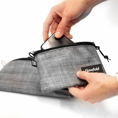 Flowfold Heather Grey Voyager Travel Pouches - Travel Pouches Made in USA For accessories and electronics