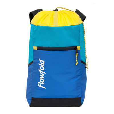 Flowfold Surf Blue/Aqua/Yellow Drifter 14L Cinch Backpack with front zipper pocket