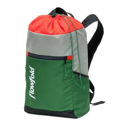 Flowfold Green/Silver/Orange Drifter 14L Cinch Backpack side view