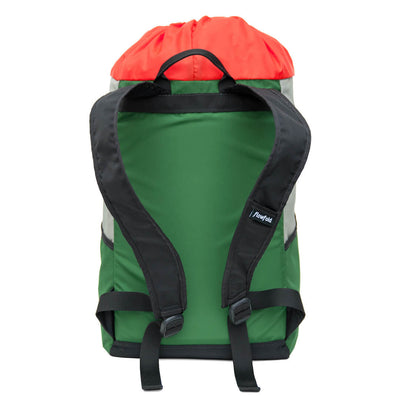 Flowfold Green/Silver/Orange Drifter 14L Cinch Backpack with black straps