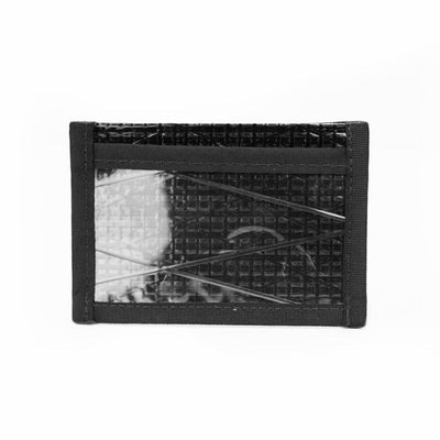 Flowfold Black Pearl Recycled Sailcloth Founder Wallet - Four Pocket Id Card Wallet with Clear pocket Made in Maine