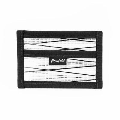Flowfold White Recycled Sailcloth Founder Wallet - Four Pocket Id Card Wallet with Clear pocket Made in Maine