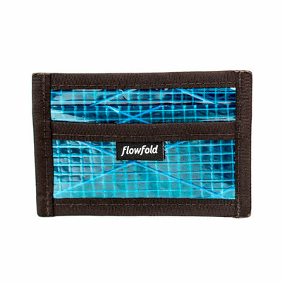 Flowfold Cyan Recycled Sailcloth Founder Wallet - Four Pocket Id Card Wallet with Clear pocket Made in Maine