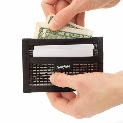 Flowfold Recycled Sailcloth Founder Wallet - Four Pocket Id Card Wallet with Clear pocket Made in Maine Holds cards and cash