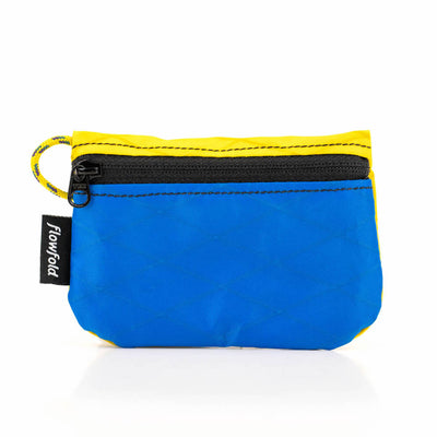 Flowfold Blue/Yellow Essentialist Coin Pouch Wallet For Cash, Cards, and Coins Made in Maine