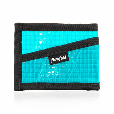 Flowfold Recycled Sailcloth Craftsman Three Pocket Wallet slim minimalist wallet cyan