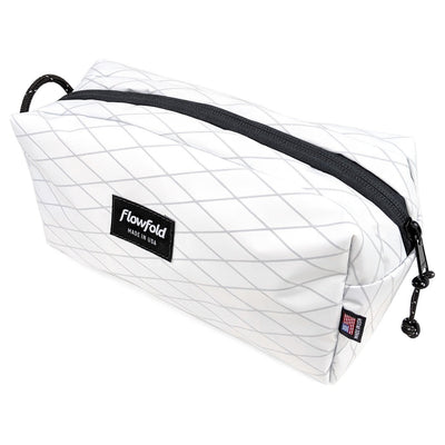 Flowfold Custom Aviator Dopp Kit shown in white fabric but fully customizable