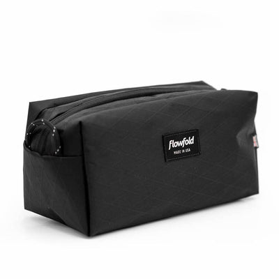 Flowfold Jet Black Aviator Dopp Kit Water Resistant Dopp Kit Made in the USA