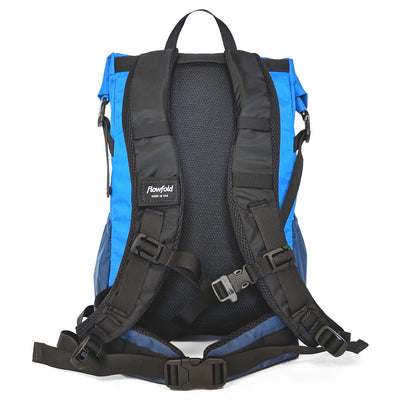 Flowfold Navy Blue with Orange Zipper Pulls Uhuru 25L Hiking Pack straps view