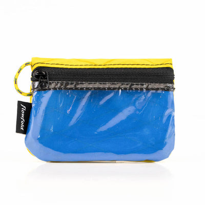 Flowfold Bahama Blue/Yellow Essentialist ID Case Wallet with Zipper and Loop