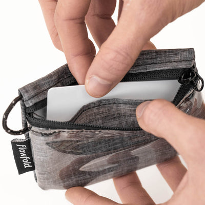 Flowfold Heather Grey Essentialist ID Case Wallet with Zipper and Loop Interior Divider