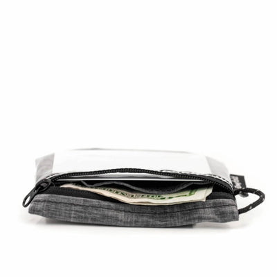 Flowfold Heather Grey Essentialist ID Case Wallet with Zipper and Loop Thin and Lightweight