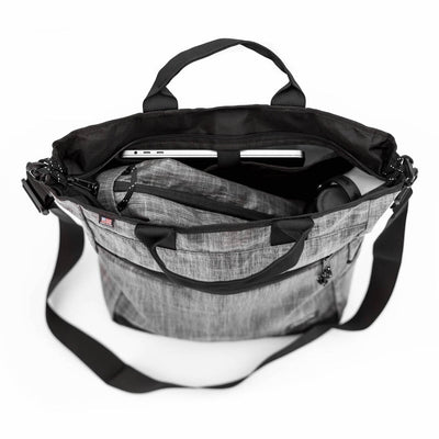 Flowfold Large Odyssey Crossbody Bag with Tote Handles  interior divers and laptop compartment