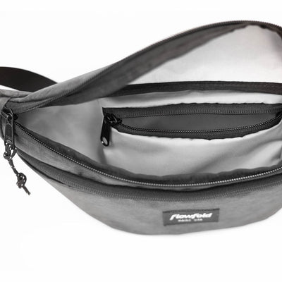 Flowfold Maverick Large Heather Grey Fanny Pack with two zippered pockets interior pocket for valuables