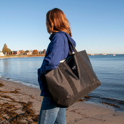 Flowfold Jet Black Mammoth 28L Tote Bag with Side Access Pocket