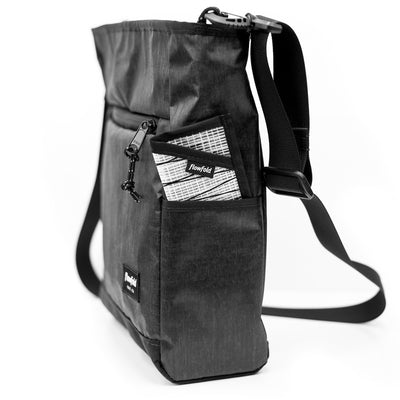 Flowfold Odyssey Medium Crossbody Bag Graphite side pocket with minimalist wallet