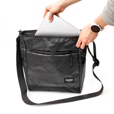 Flowfold Odyssey Medium Crossbody Bag Graphite laptop storage
