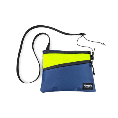 Flowfold Navy/Neon Sacoche Japan Inspired Medium Crossbody Bag