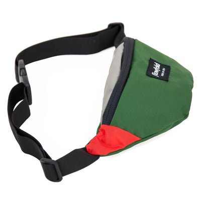 Flowfold Green/Silver/Orange Rebel Fanny Pack with nylon waste belt and plastic buckle