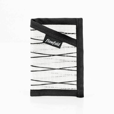 Flowfold White Recycled Sailcloth ID Minimalist Card Holder Wallet with Clear Sleeve for ID Cards Made in Maine