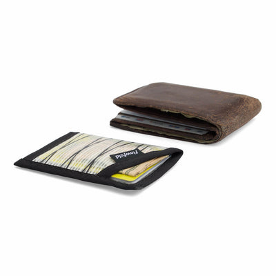 Flowfold Recycled Sailcloth Minimalist Card Holder Wallet comparison to leather bifold wallet thickness