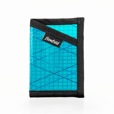 Flowfold Cyan Recycled Sailcloth ID Minimalist Card Holder Wallet with Clear Sleeve for ID Cards Made in Maine