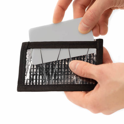 Flowfold Recycled Sailcloth ID Minimalist Card Holder for Cards and Cash - Clear Sleeve for easy usage