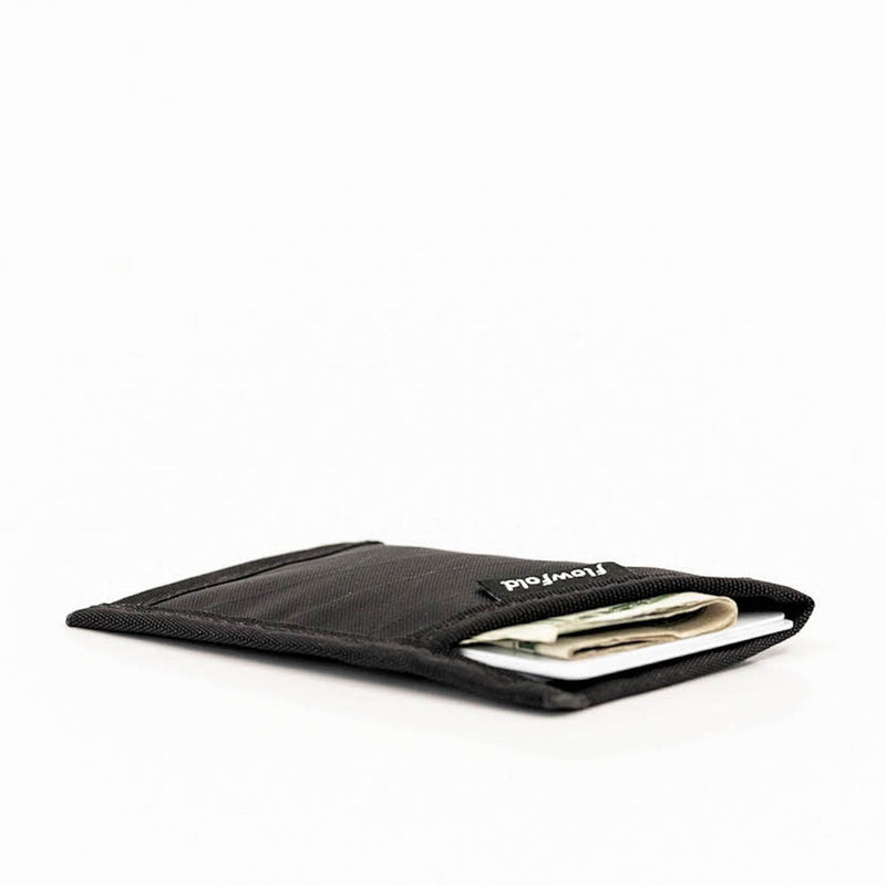 Flowfold Ultra Thin RFID Blocking Minimalist Card Holder Wallet Jet Black