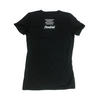 Women's Black Flowfold T-Shirt back view with stacked saying: Craftsmanship, Community, Sustainability, Stewardship
