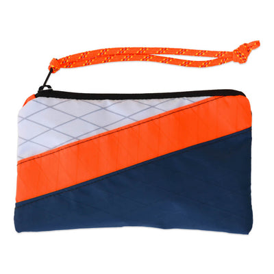 Flowfold Navy Blue/White/Aqua Aurora Wristlet with orange cord wrist strap