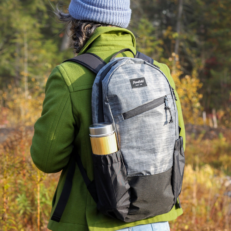 Flowfold 18L Optimist large backpack with water bottle sleeves heather grey