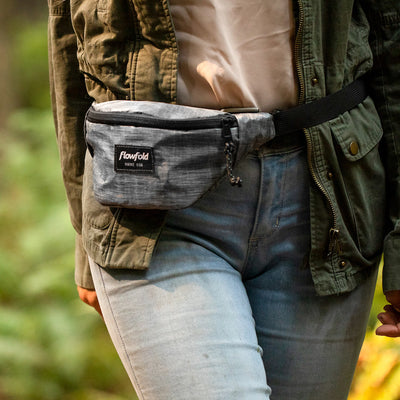 Flowfold Heather Grey Rebel X-Pac Fanny Pack Around the Waist