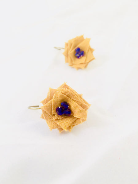 Flower Drop Earrings in Blue and Gold