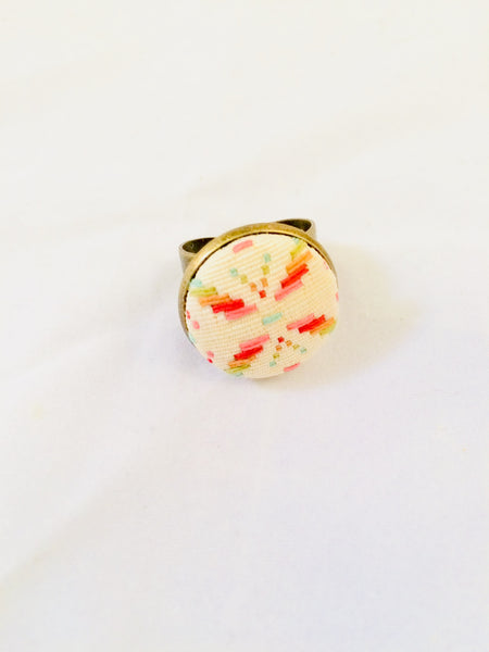 Colorful Fabric Cabochon Ring