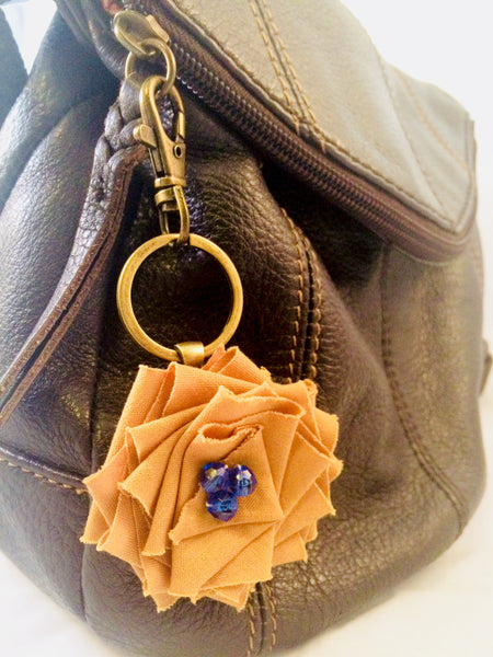 Flower Key FOB in Blue and Gold.