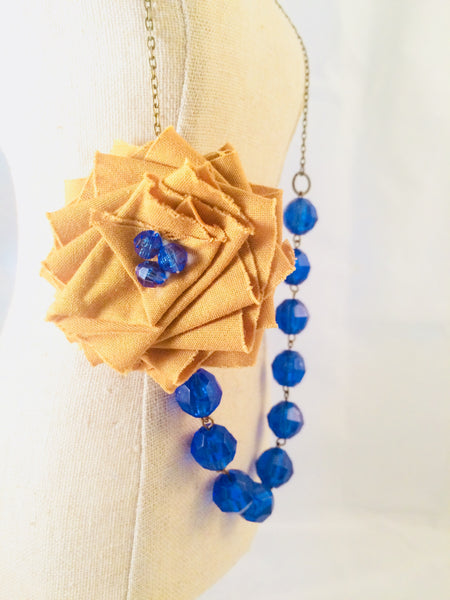 Flower Necklace in Blue and Gold.
