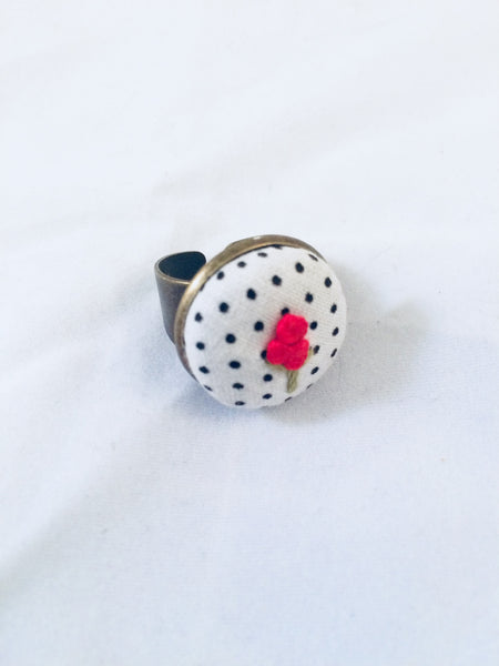 Red Flower on Polka Dot Statement Ring