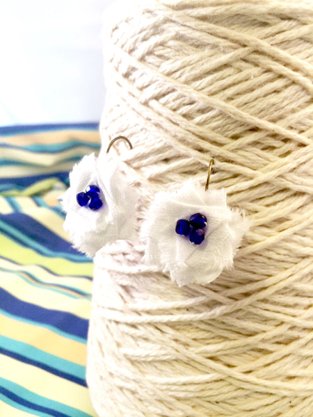 Flower Drop Earrings in Blue and White