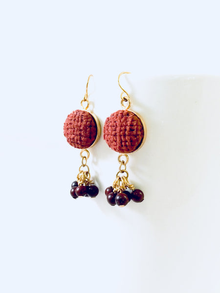 Palafox Gemstone Cluster Earrings in Russet by Cardinal House.