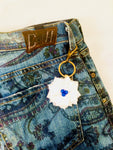 Flower Key FOB in Blue and White.