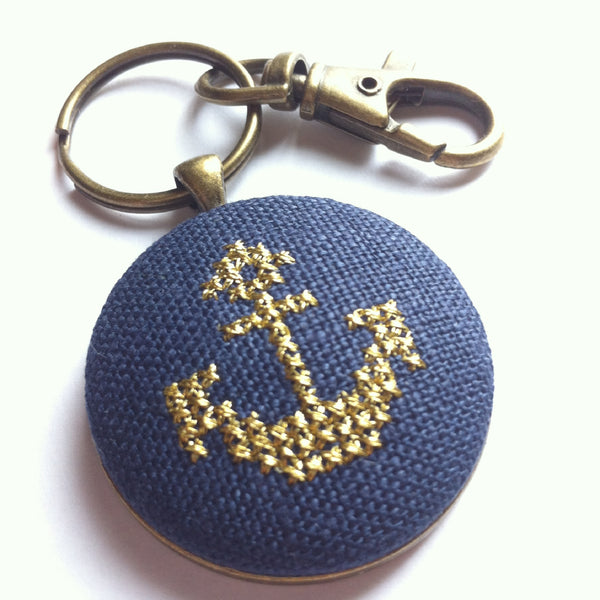 Cross Stitched Gold Anchor Keychain in Brass Hardware