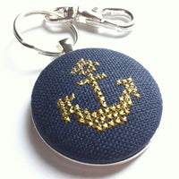Cross Stitched Gold Anchor Keychain in Silver Hardware
