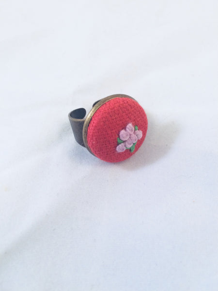 Lavender Flower on Rose Fabric Ring