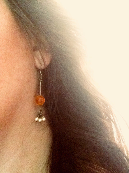Orange Vintage Beaded Cluster Earrings