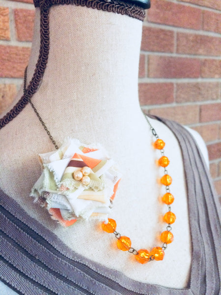 Flower Necklace In Pumpkin Spice Jewelry