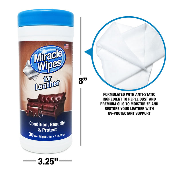 MiracleWipes for Leather (30 Count)