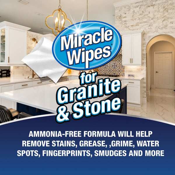MiracleWipes for Granite & Stone (30 Count)