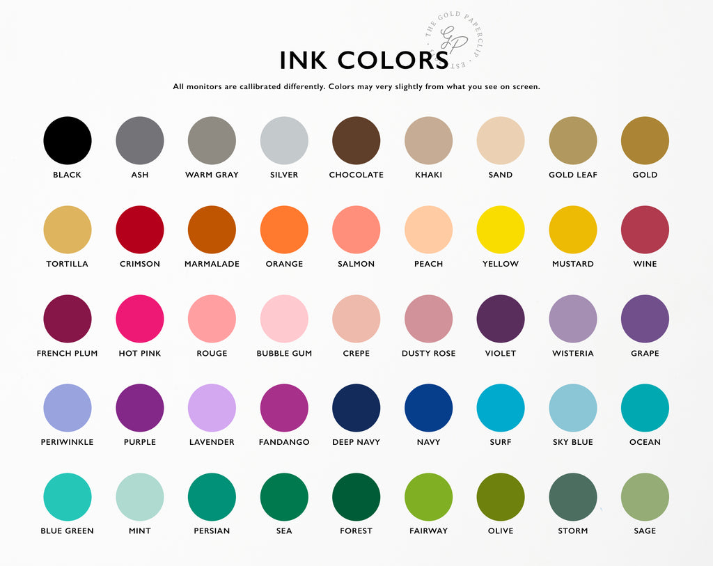 Ink Color Chart | The Gold Paperclip